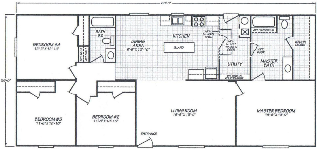 4 bedroom double wide floor plans 3 bedroom 2 bath floor for 2 bedroom mobile home floor plans